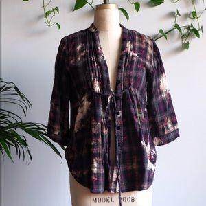VINTAGE Purple Grunge Plaid & Tie Dye Flannel